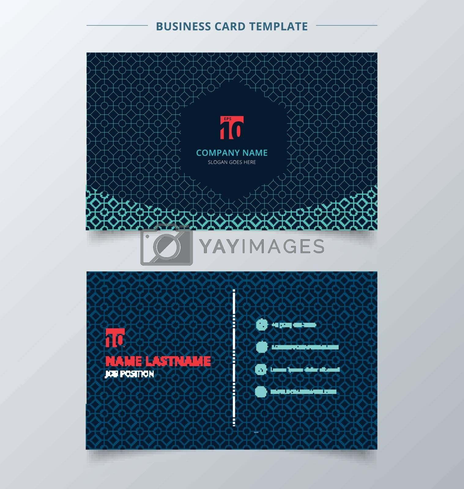 Creative business card and name card template dark blue color modern with square octagon and circle pattern abstract concept and commercial design. vector graphic illustration