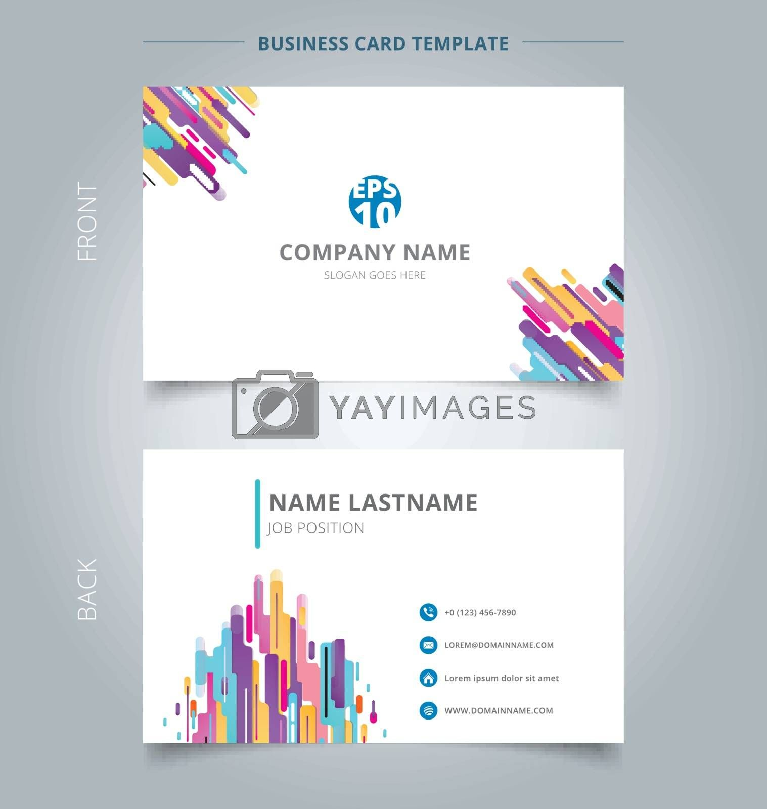 Creative business card and name card template modern style composition made of various rounded shapes colorful. Abstract concept and commercial design. vector graphic illustration