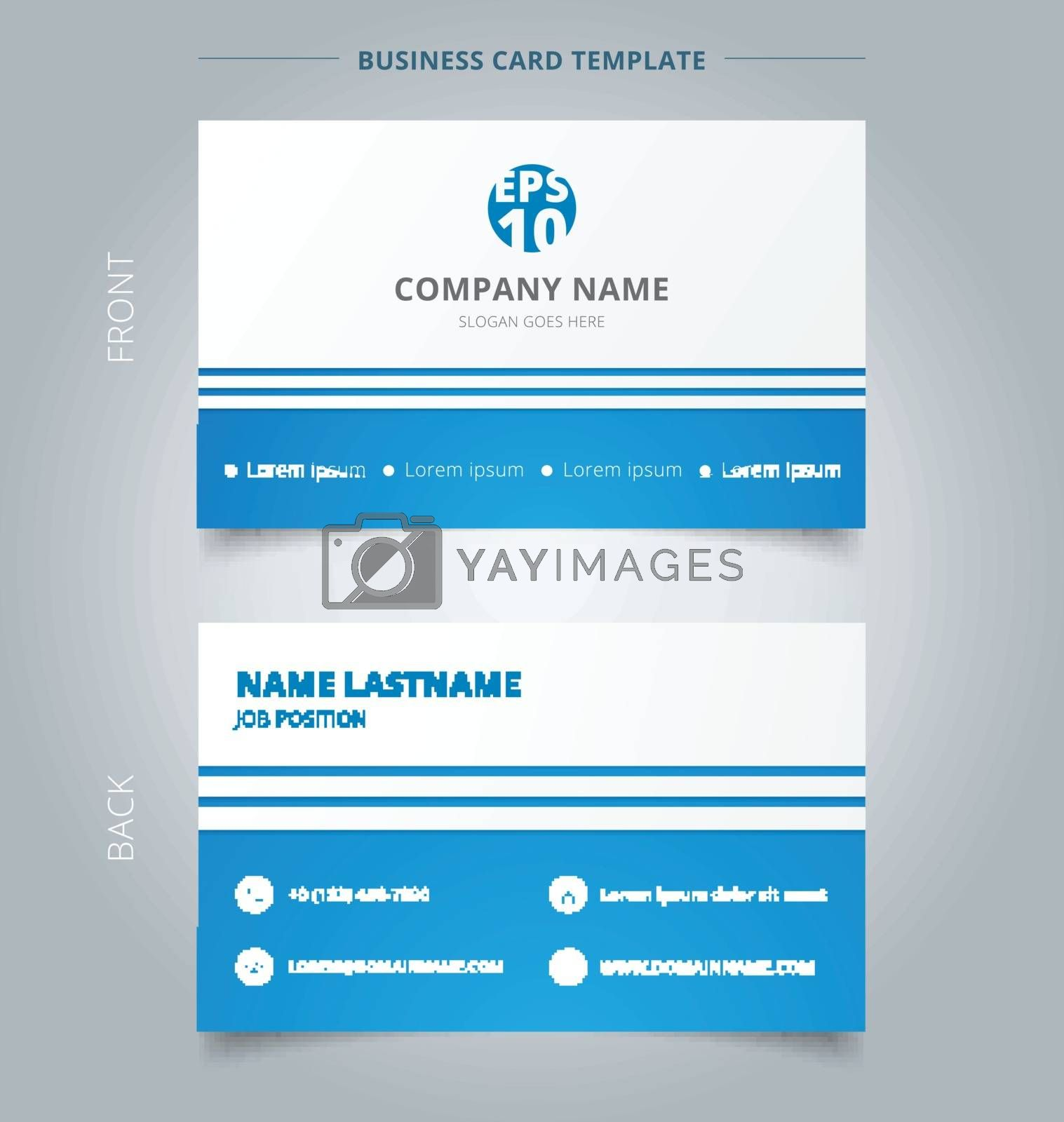 Creative business card and name card template blue and white with lines horizontal. Abstract concept and commercial design. vector graphic illustration