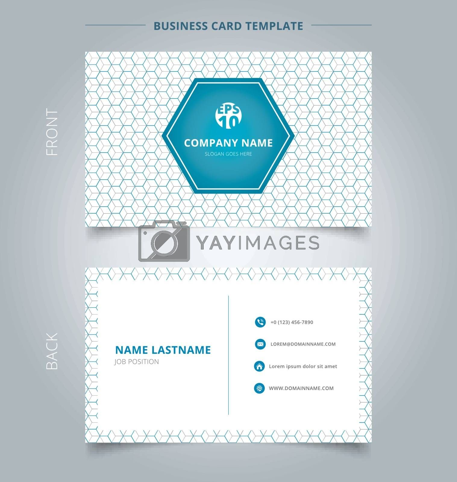 Creative business card and name card template geometric blue, gray hexagon pattern overlap background. Abstract concept and commercial design. vector graphic illustration