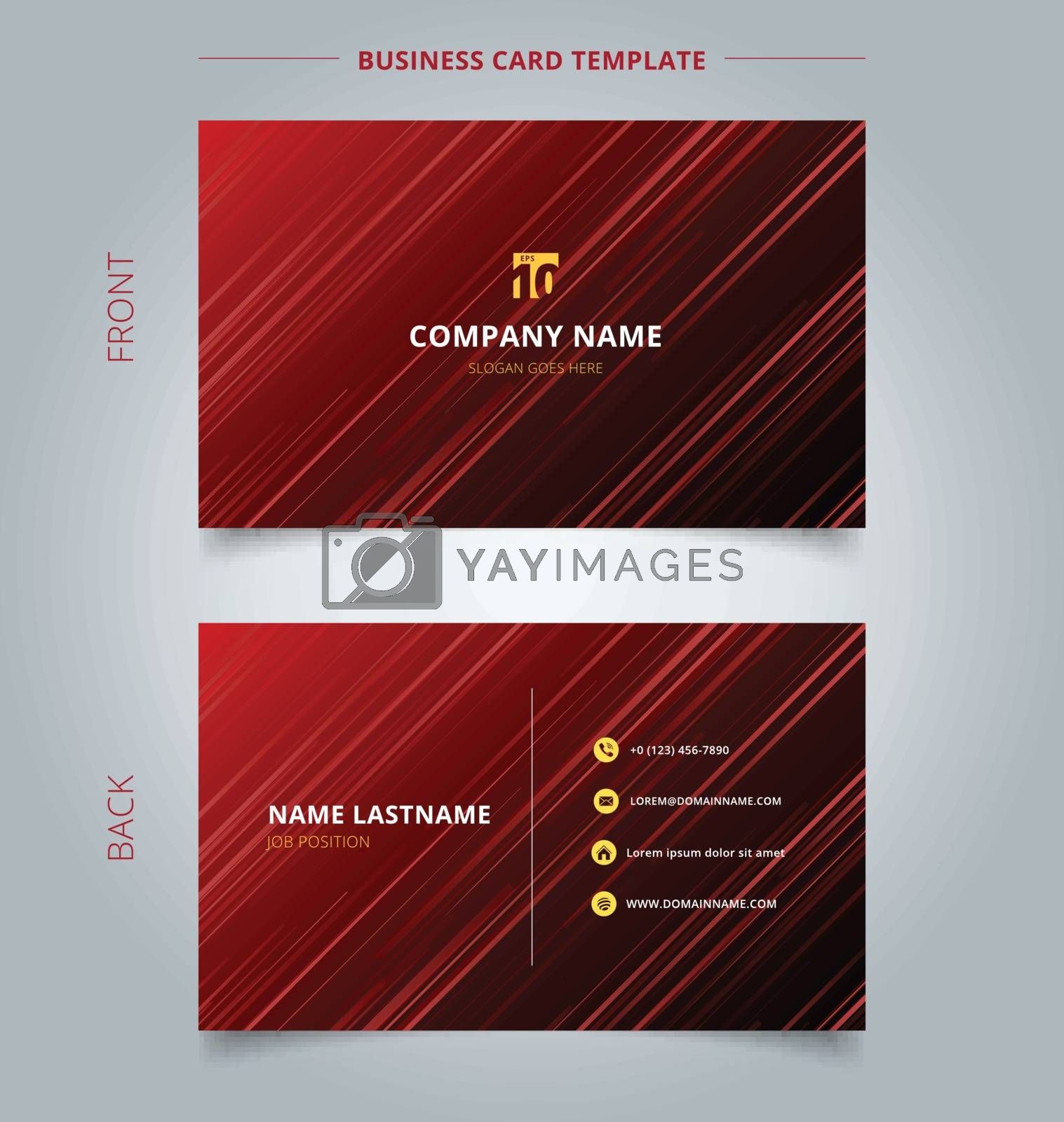 Creative business card and name card template technology red laser rays light and lighting effects diagonally on dark background. Abstract concept and commercial design. vector graphic illustration