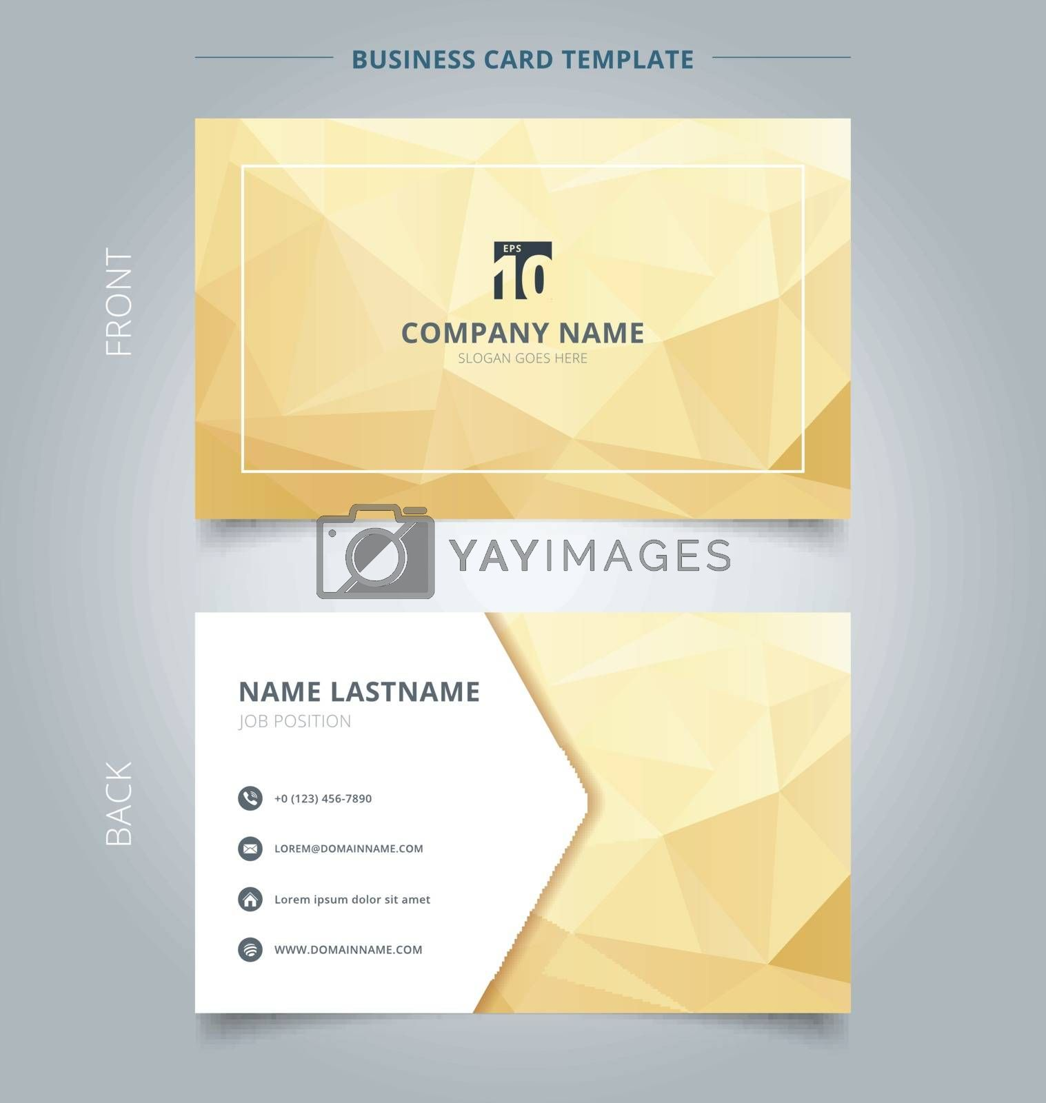 Creative business card and name card template abstract yellow and gold geometric background with lighting. Concept and commercial design. vector graphic illustration