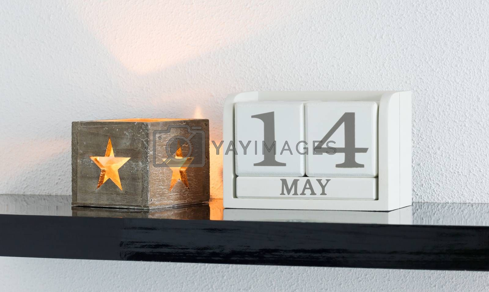 White block calendar present date 14 and month May by michaklootwijk