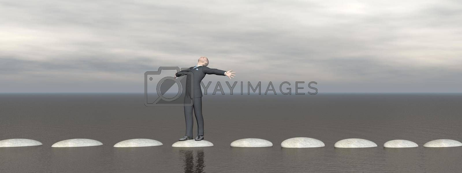 businessman and sky that runs on steps - 3D rendering