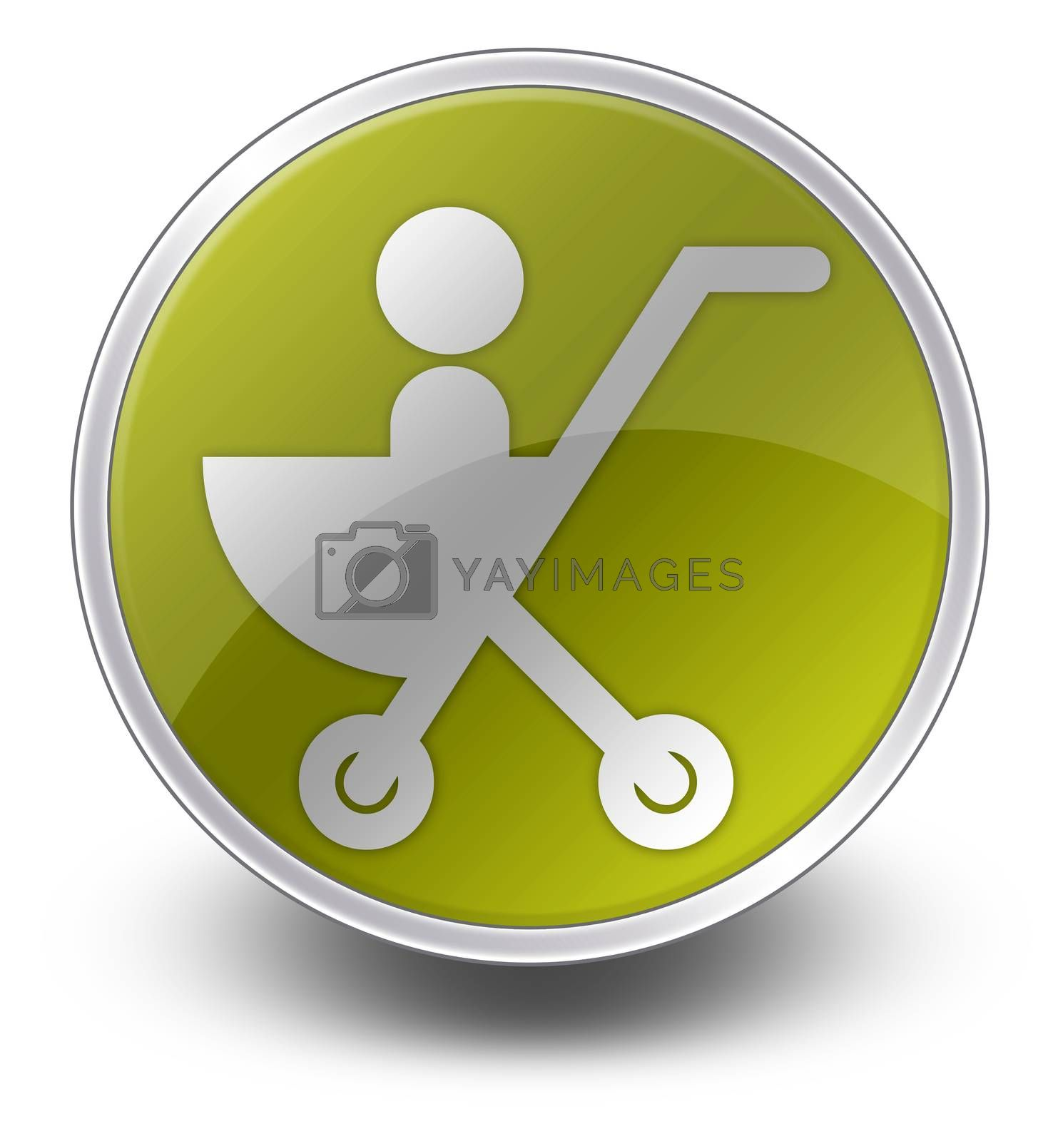 Icon, Button, Pictogram with Stroller symbol