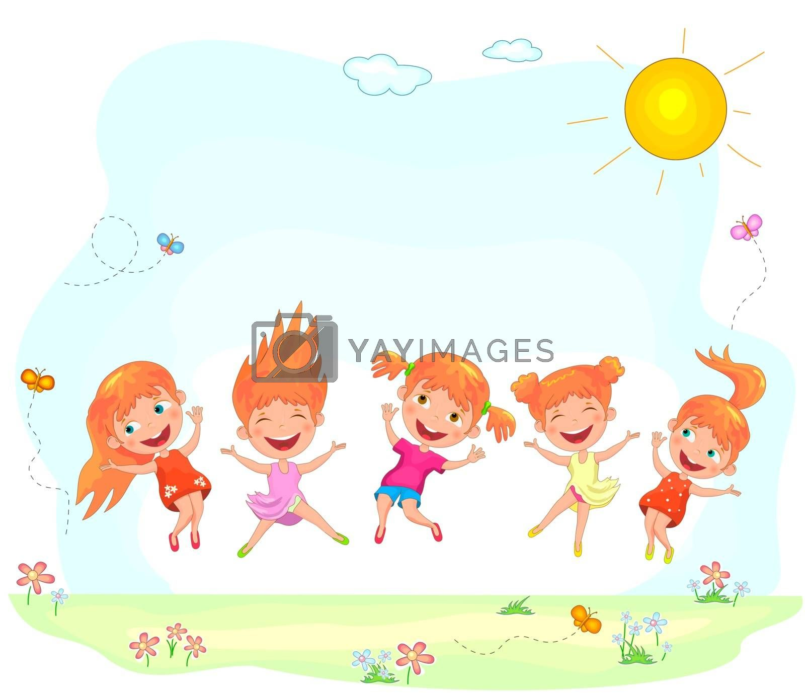 Funny cartoon children play on nature. Little girls are jumping on a summer sunny lawn.