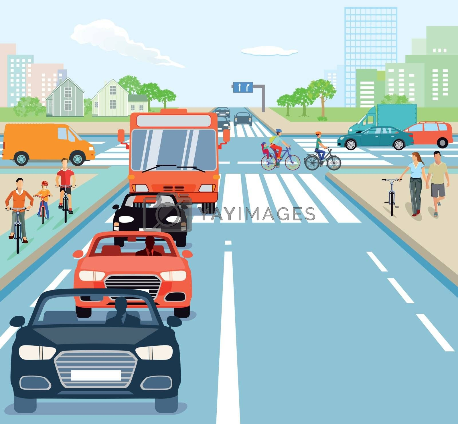 Road junction with cyclists and cars
