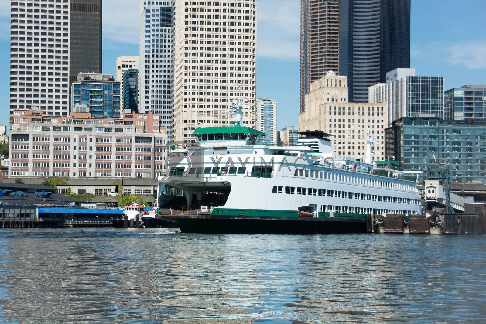 Ferry awaits departure on Elliott Bay - Seattle, WA