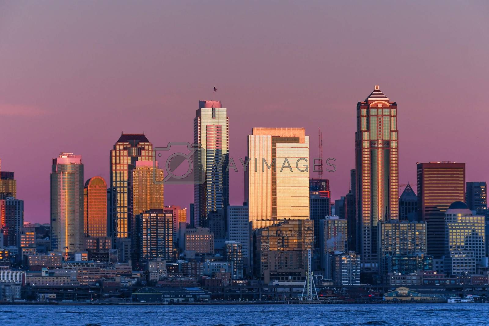 Sunset on Seattle skyline as viewed from Harbor Ave in West Seattle