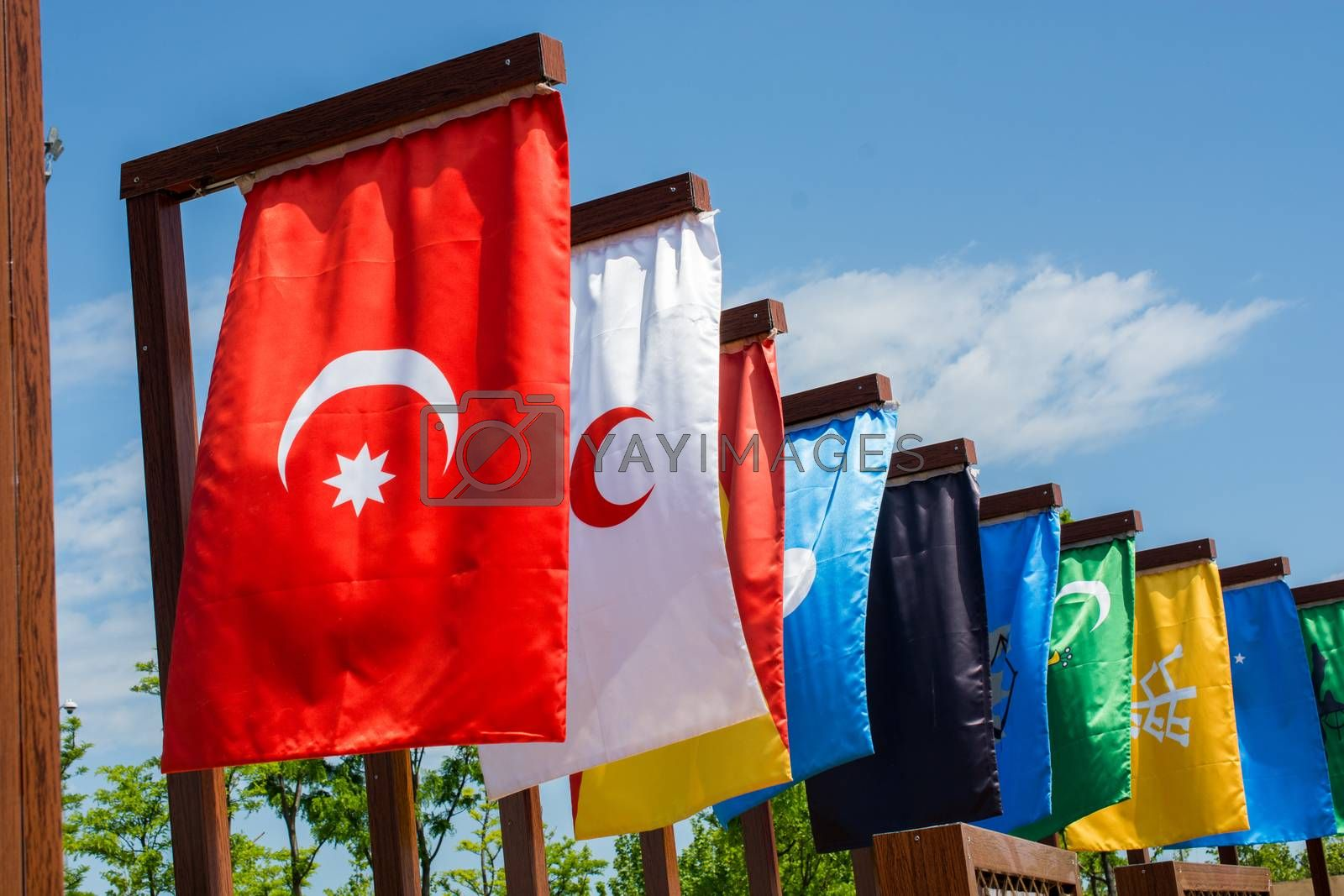 Flags of 16 great Turkish Empires in history