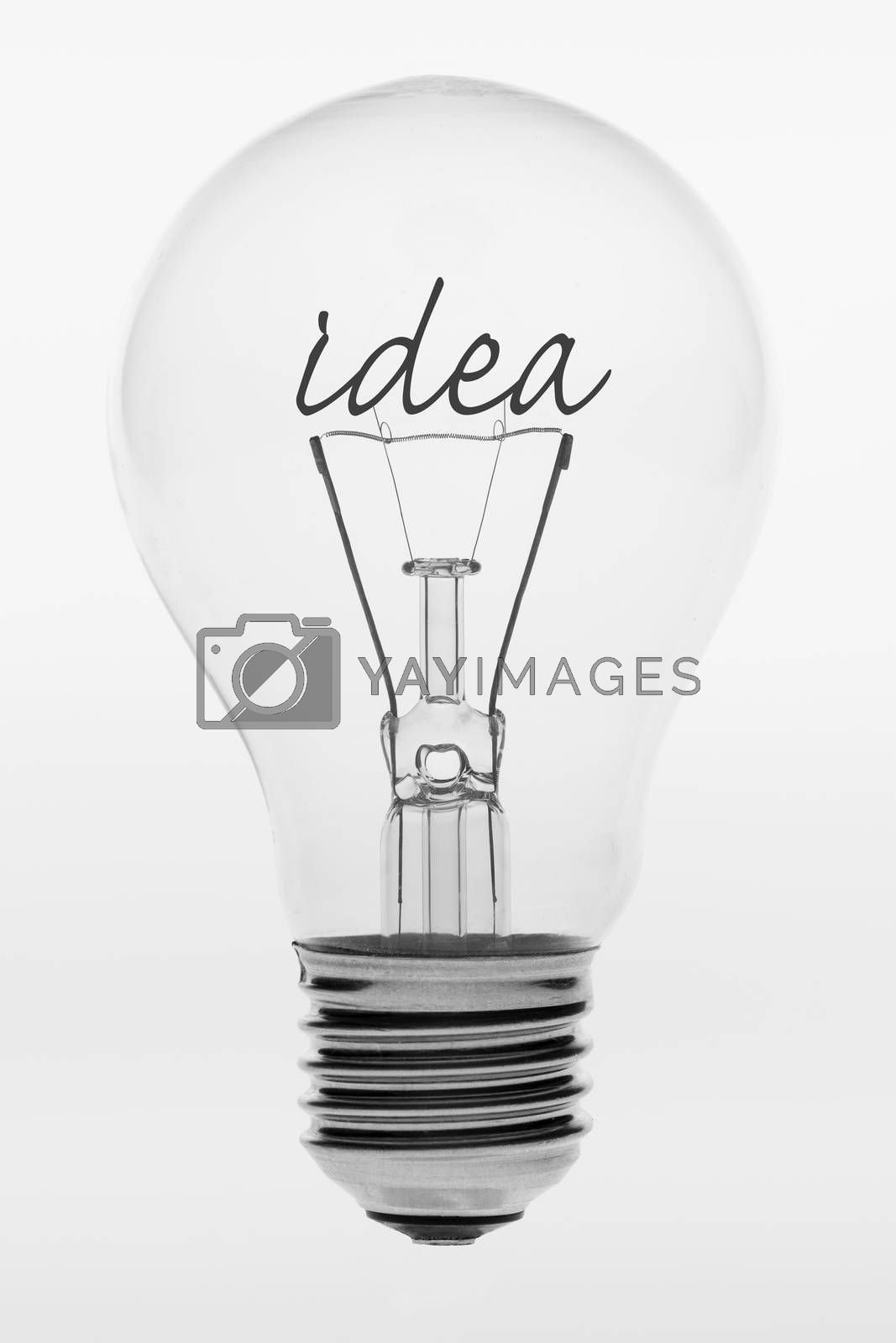 Old fashioned light bulb with the text idea formed by filaments in the crystal ball