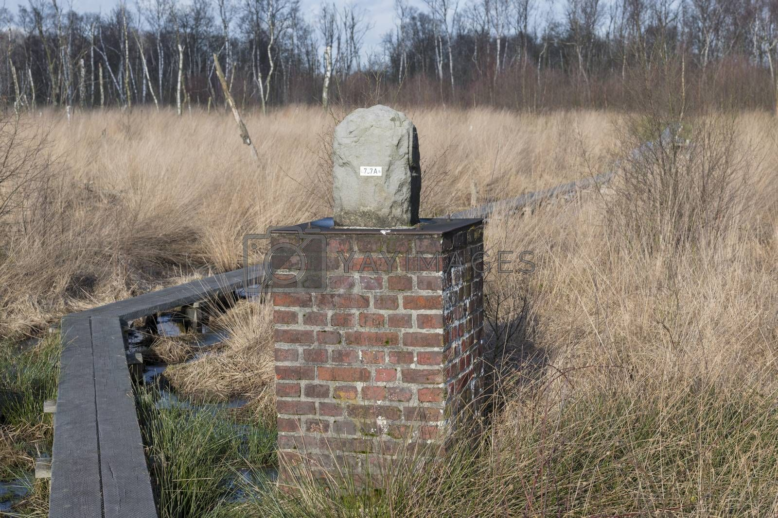 Boundary stone in nature reserve the Wooldse veen on the Southeast side of the municipality of Winterswijk in the Netherlands to the border with Germany. This peat moor area is dissected by the border between the Netherlands and Germany. Therefore there are many boundary stones to be found in this nature reserve.