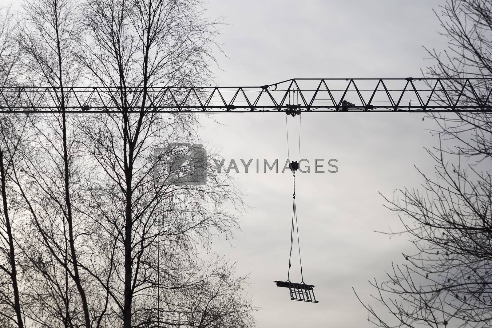 Royalty free image of Construction Crane with Trees by Emmoth