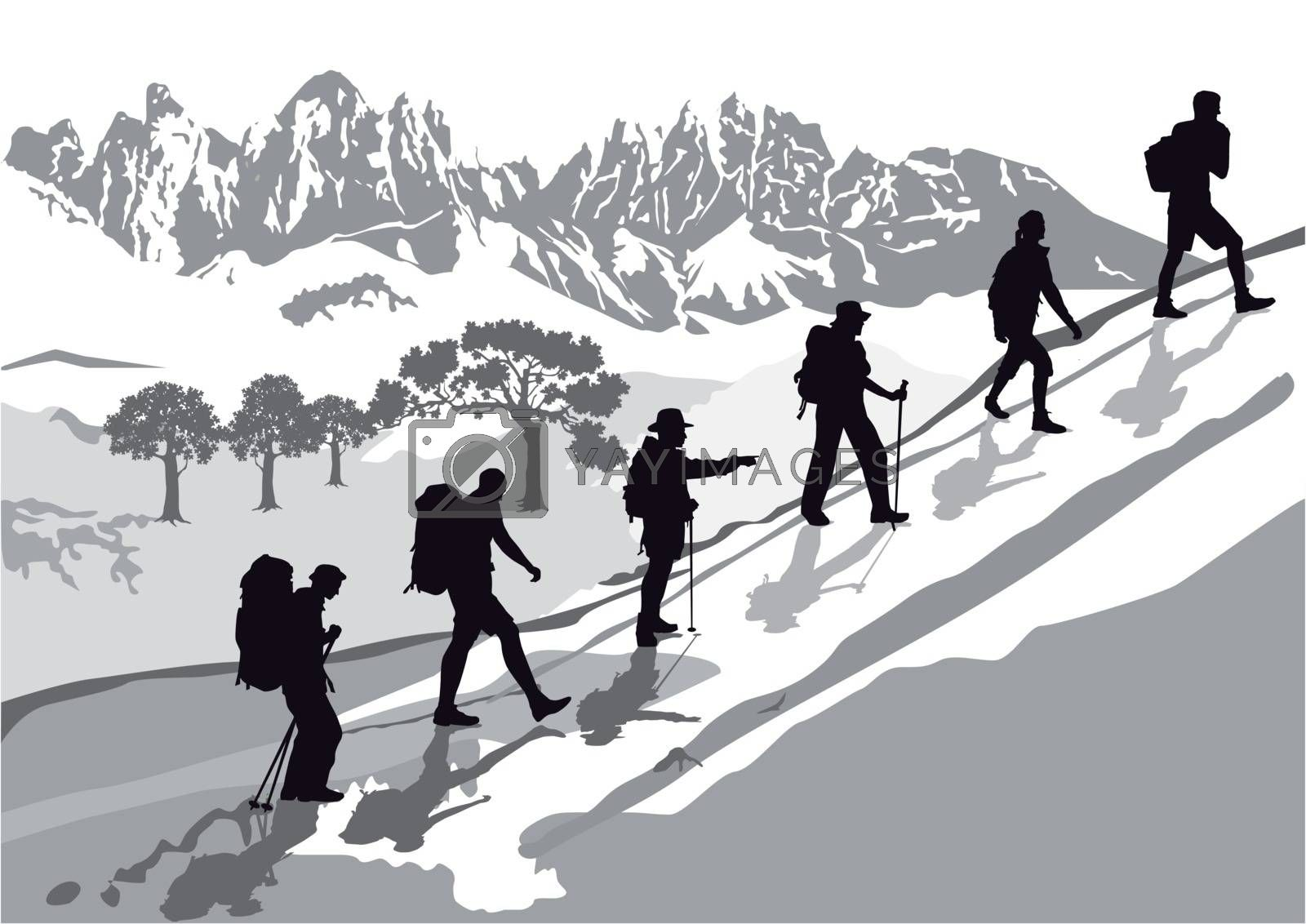 Mountaineering in the group