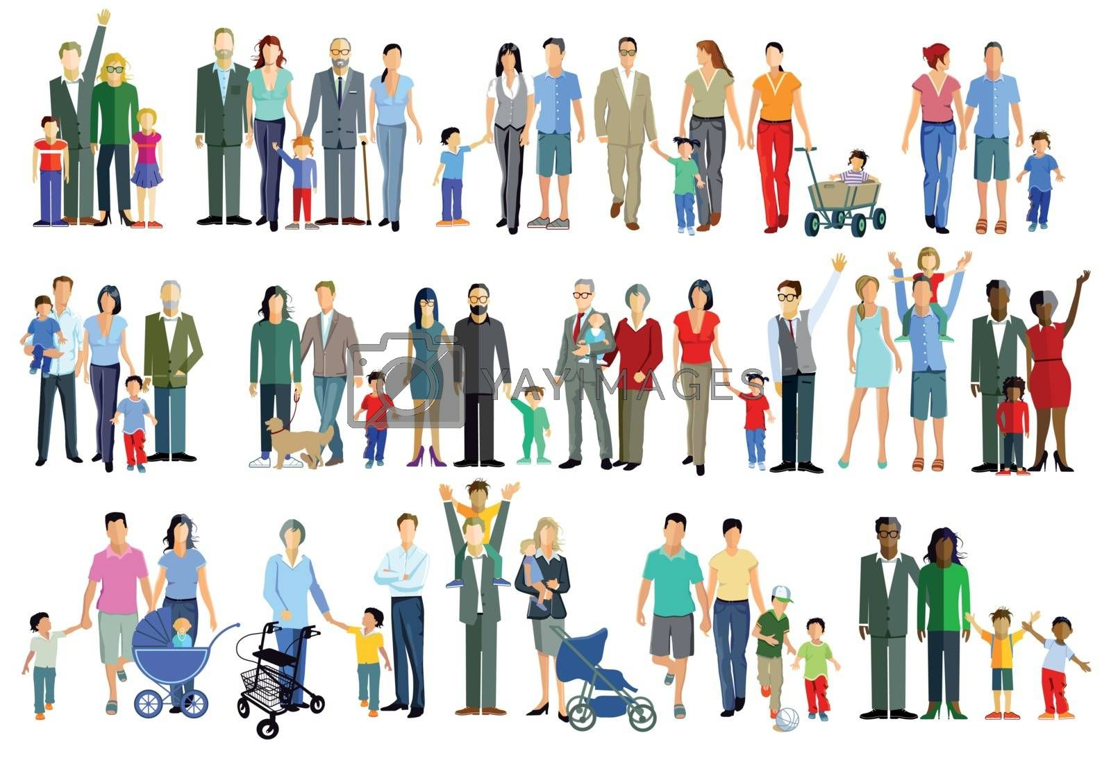 Family generation groups, illustration