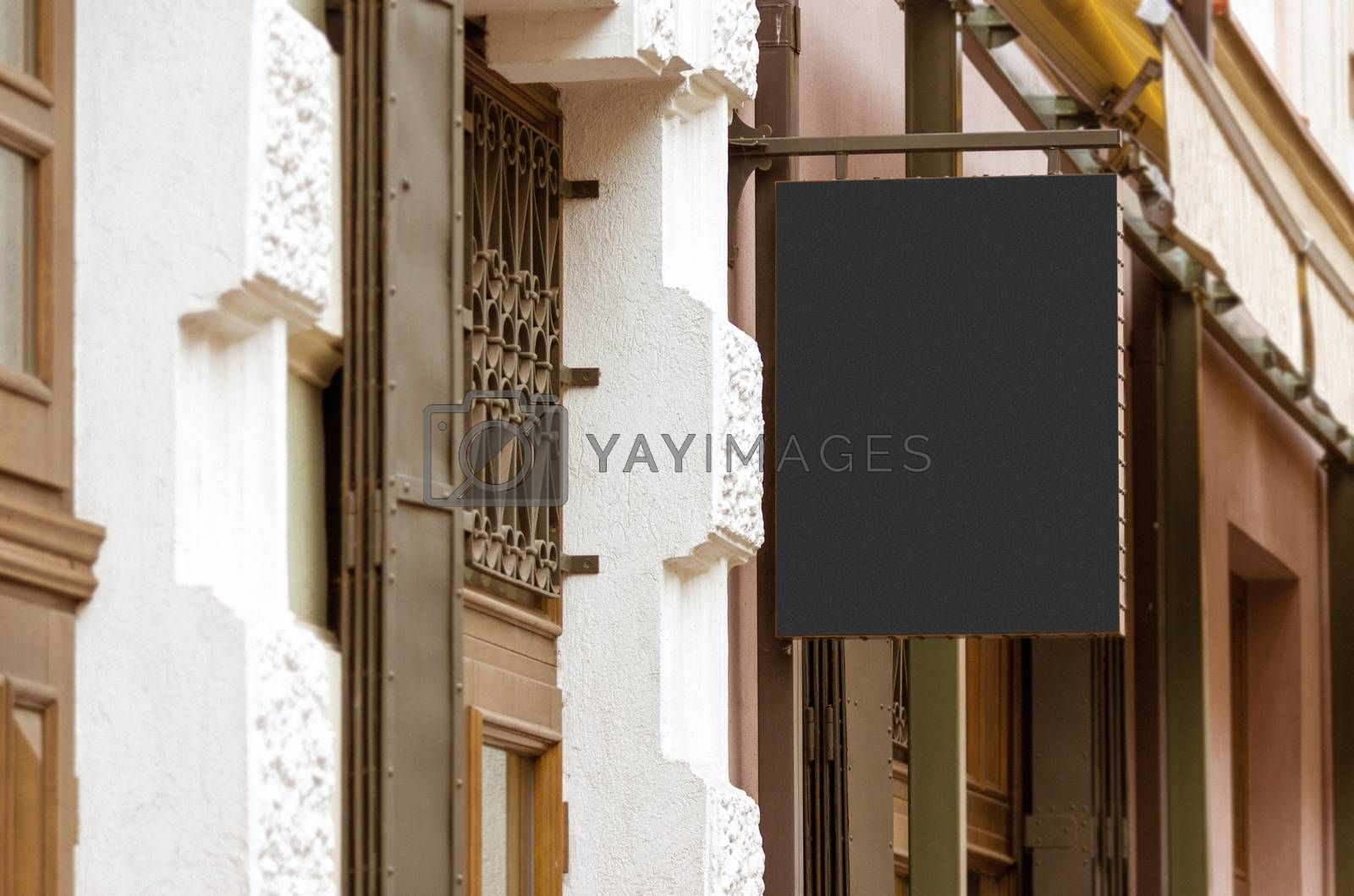 Blank real outdoor company sign mockup by Vaidas Bucys