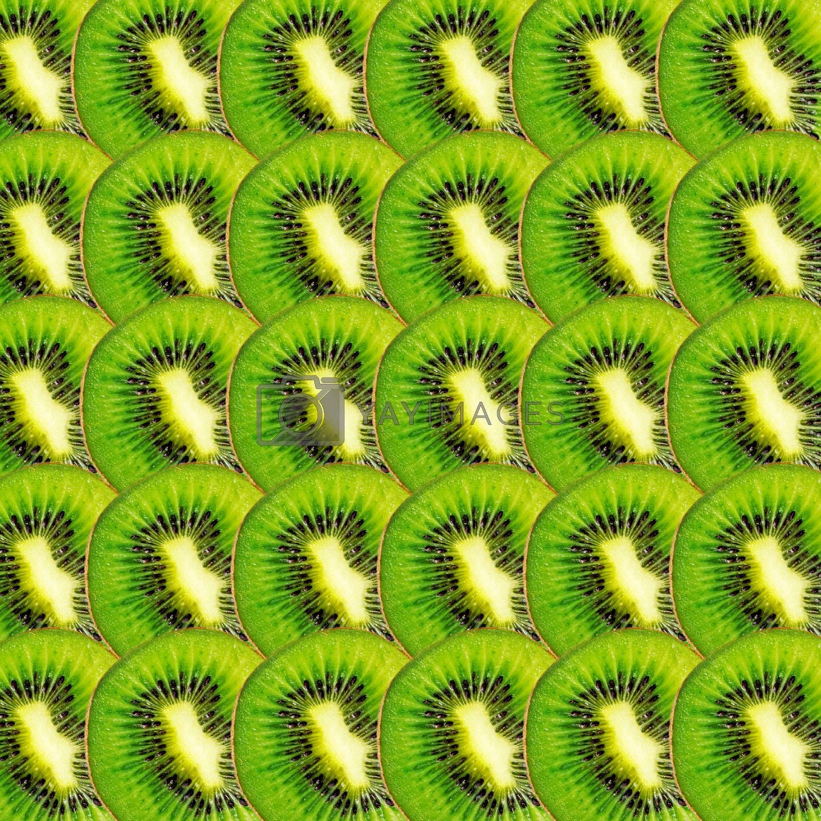 Green kiwi fruit slices texture, real photo food background