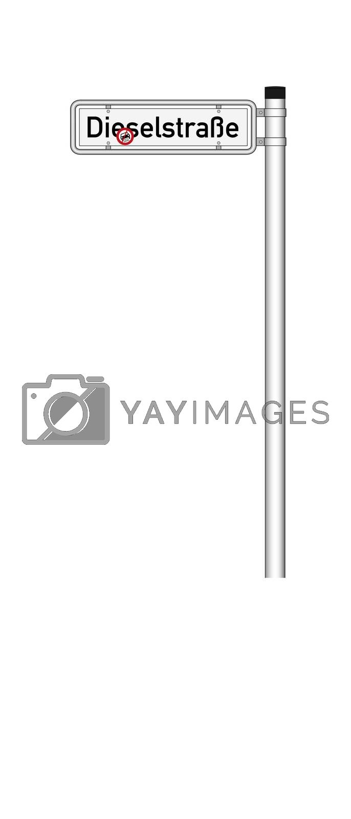 German traffic sign  for diesel driving prohibited with german text for applies to diesel and street sign with german text for diesel street, isolated on white