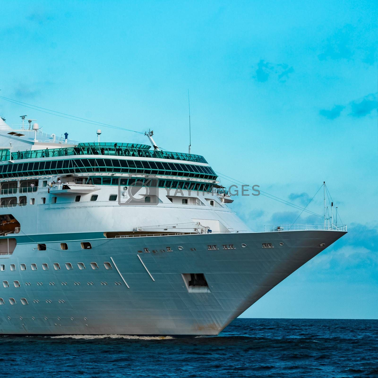 Luxury cruise liner underway. Tour travel and spa services