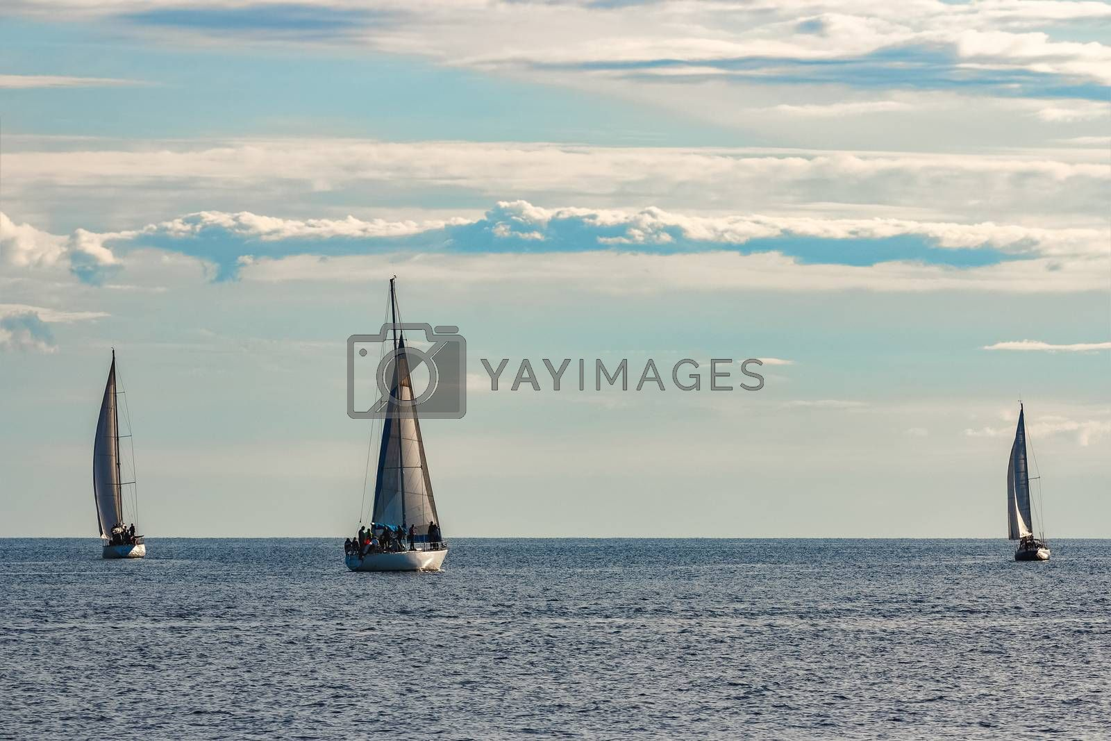 A fiew sailboats are traveling in Baltic sea. Summer journey