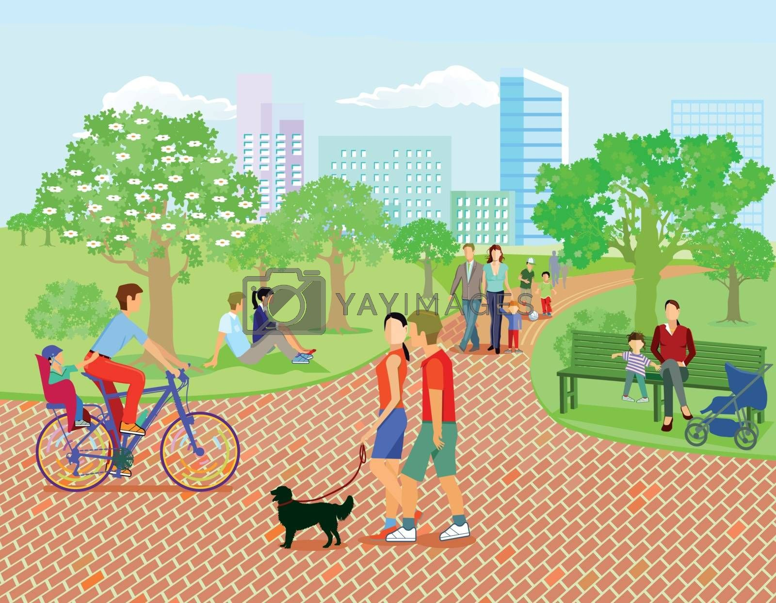 Families and parents relax in the park, illustration