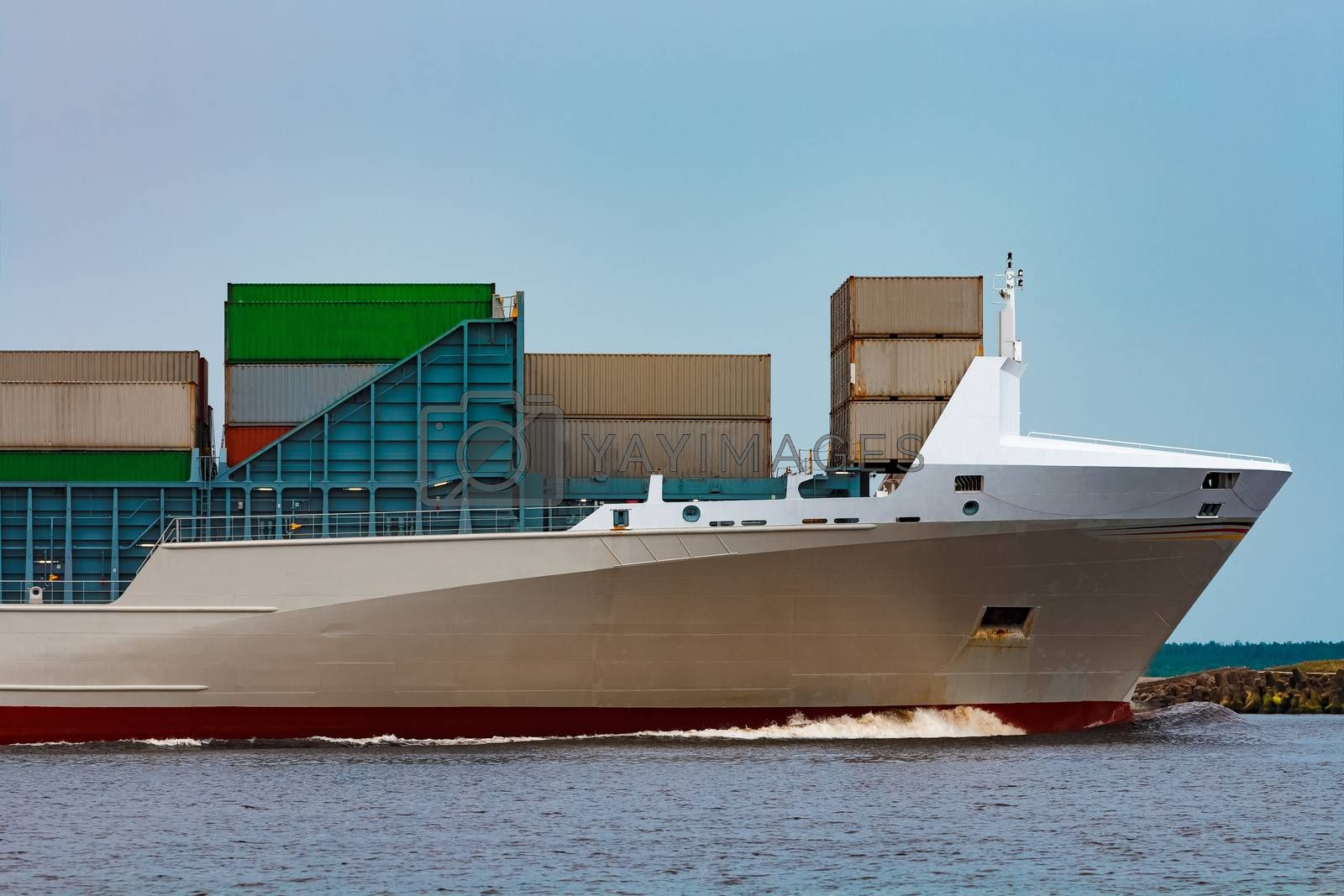 Grey container ship. Logistics and production import