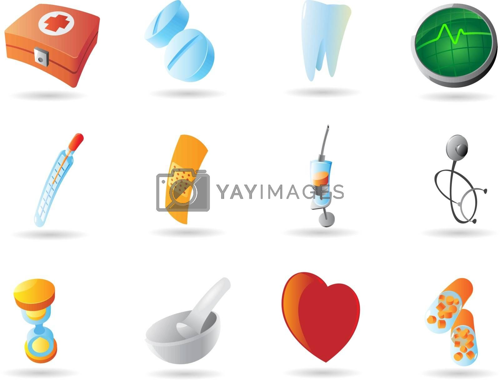 Icons for health and medicine. Vector illustration.