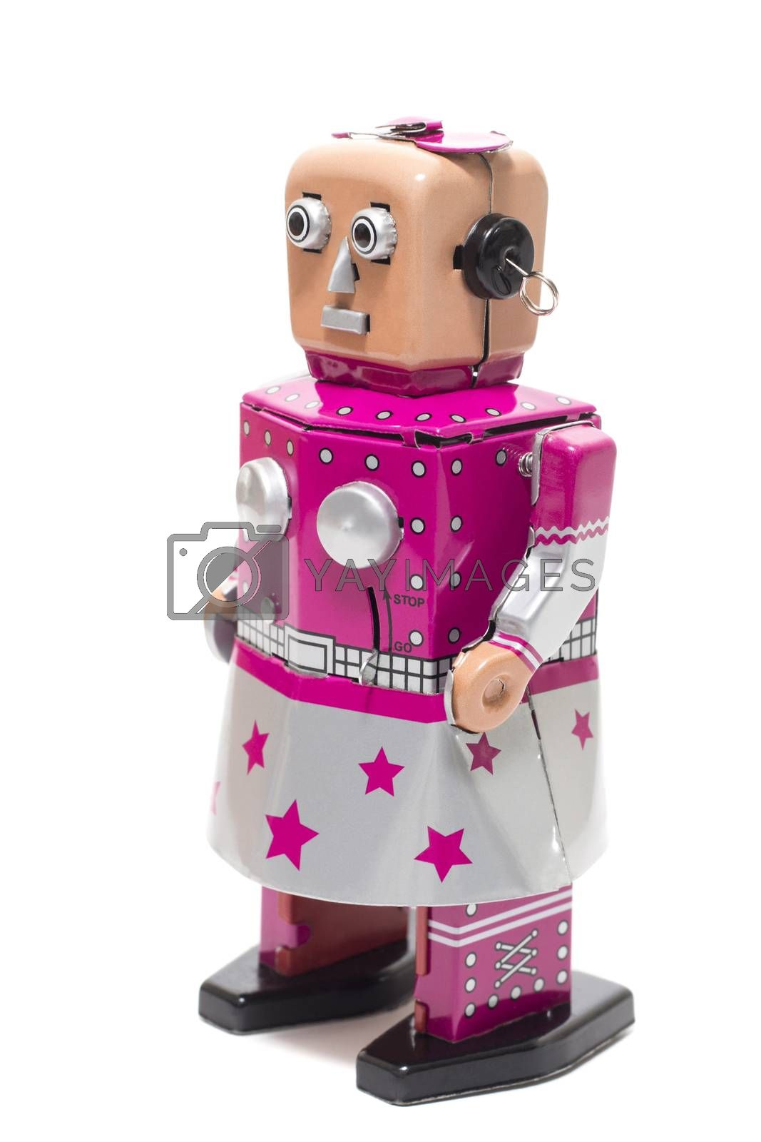 Vintage retro female tin toy robot isolated on a white background.