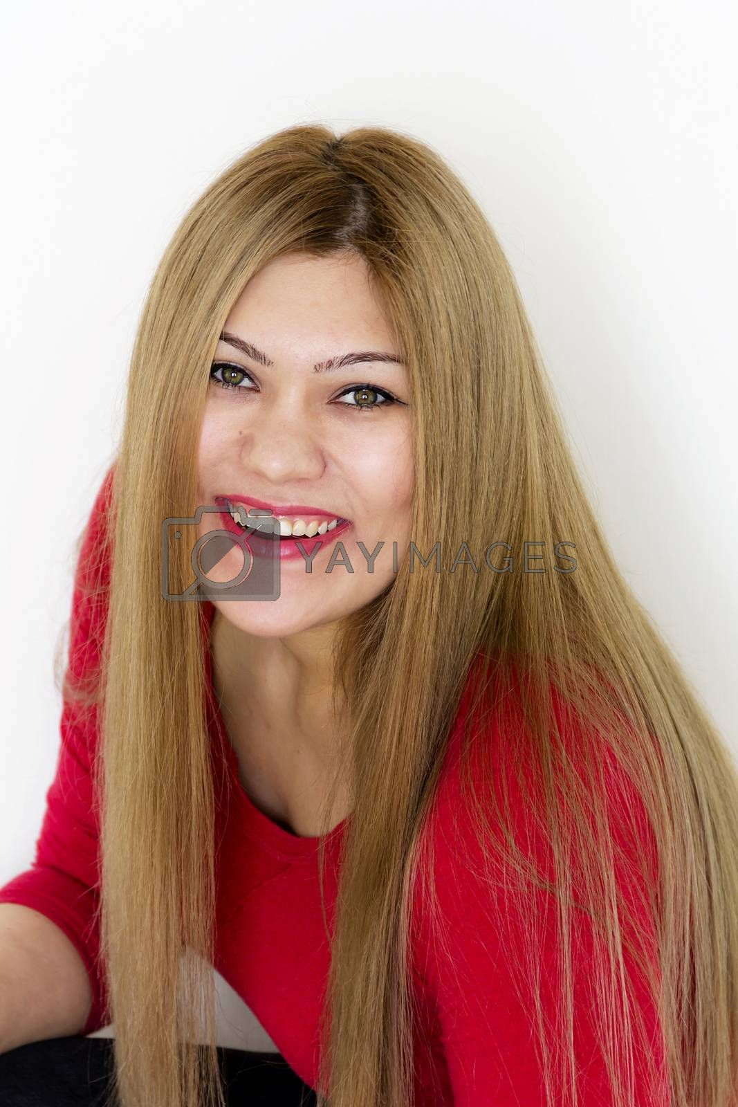 Vertical Attractive young girl with long brown healthy straight hair