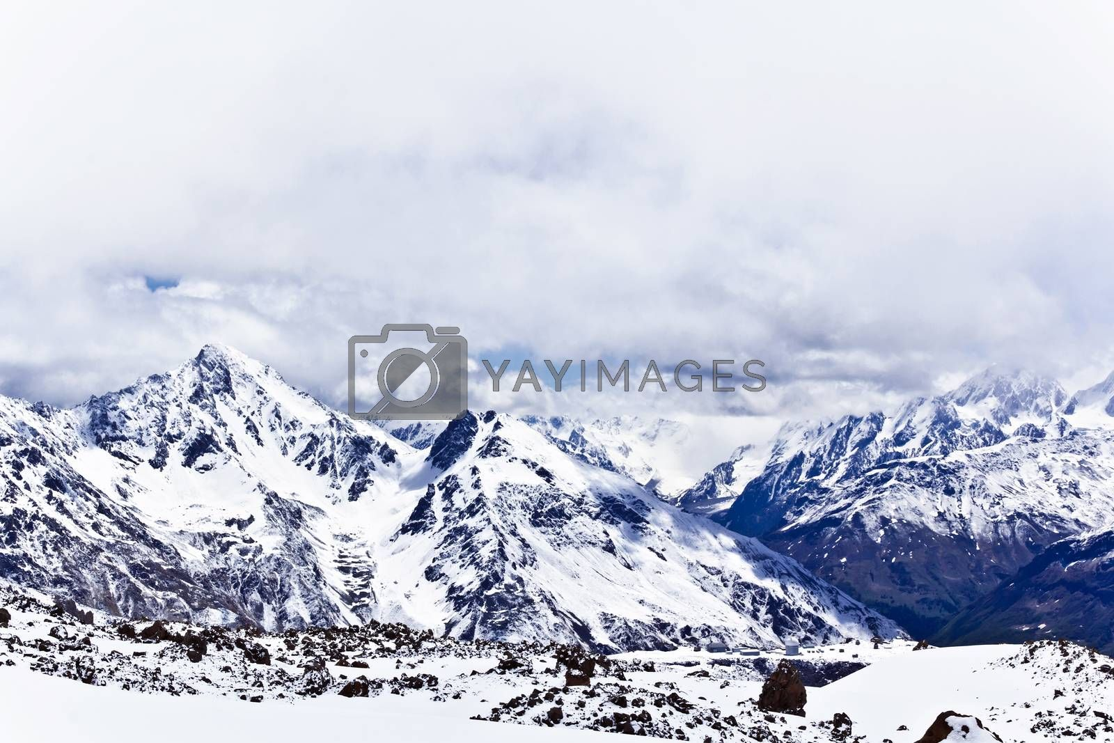 Winter landscape with snow mountains Caucasus region in Russia