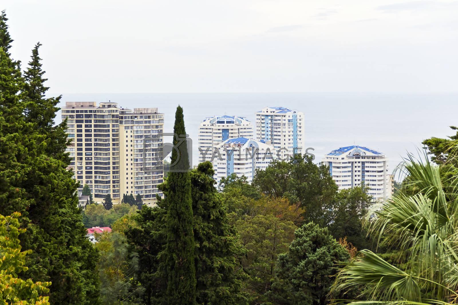 Panorama of Russian resort town Sochi and Black sea