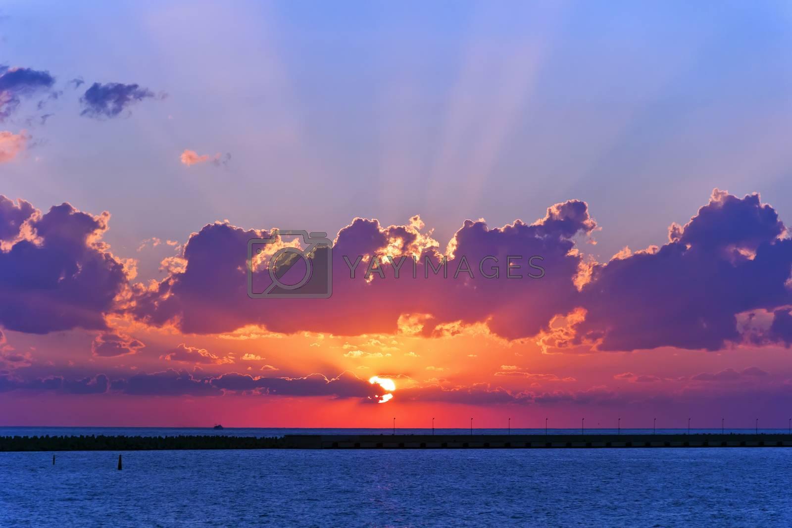 Lanscape evening calm sea with purple sunset