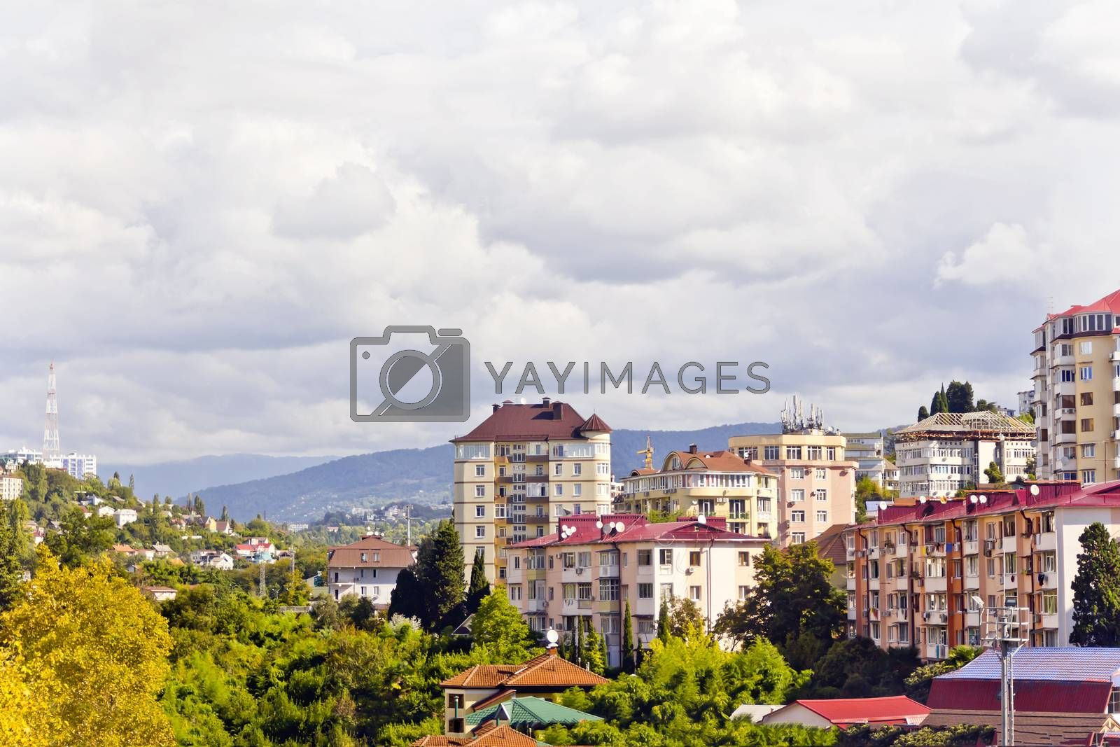 Panorama of Russian resort town Sochi in summer day