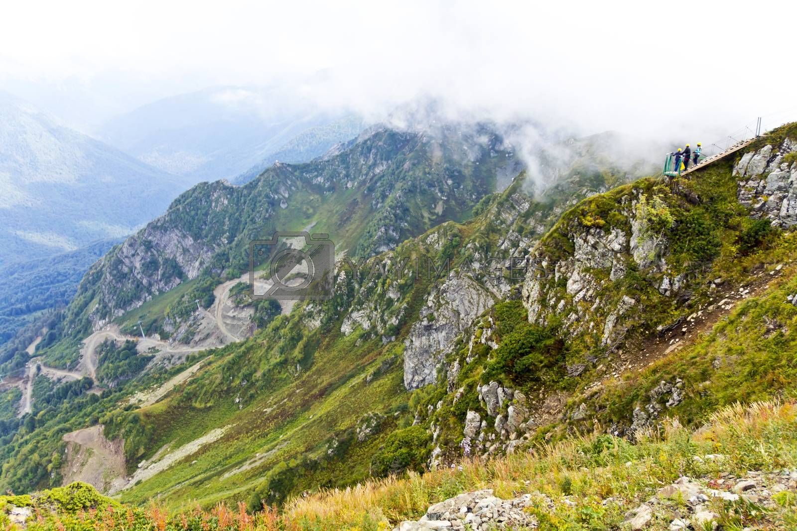 Summer picturesque landscape with Russian Caucasus rockies mountains