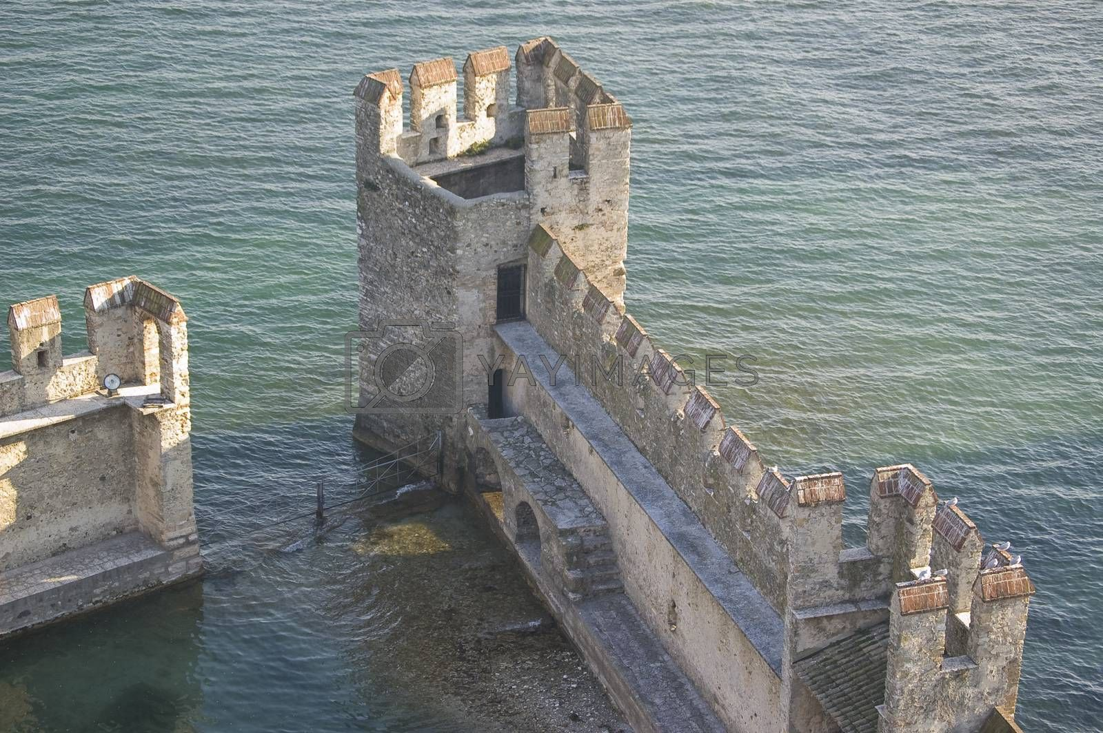 The old fortification located on the Garda's lake in Lazise, Italy