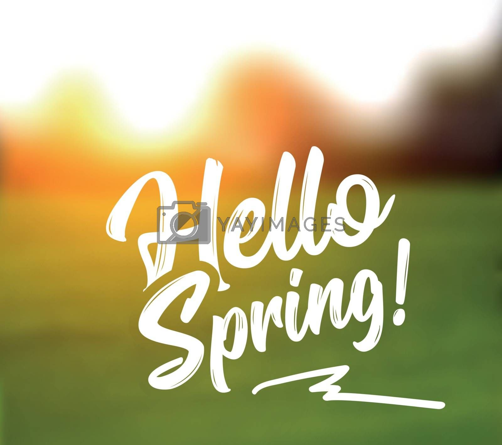 Text message hello spring, against a defocused background of a spring landscape. Vector illustration