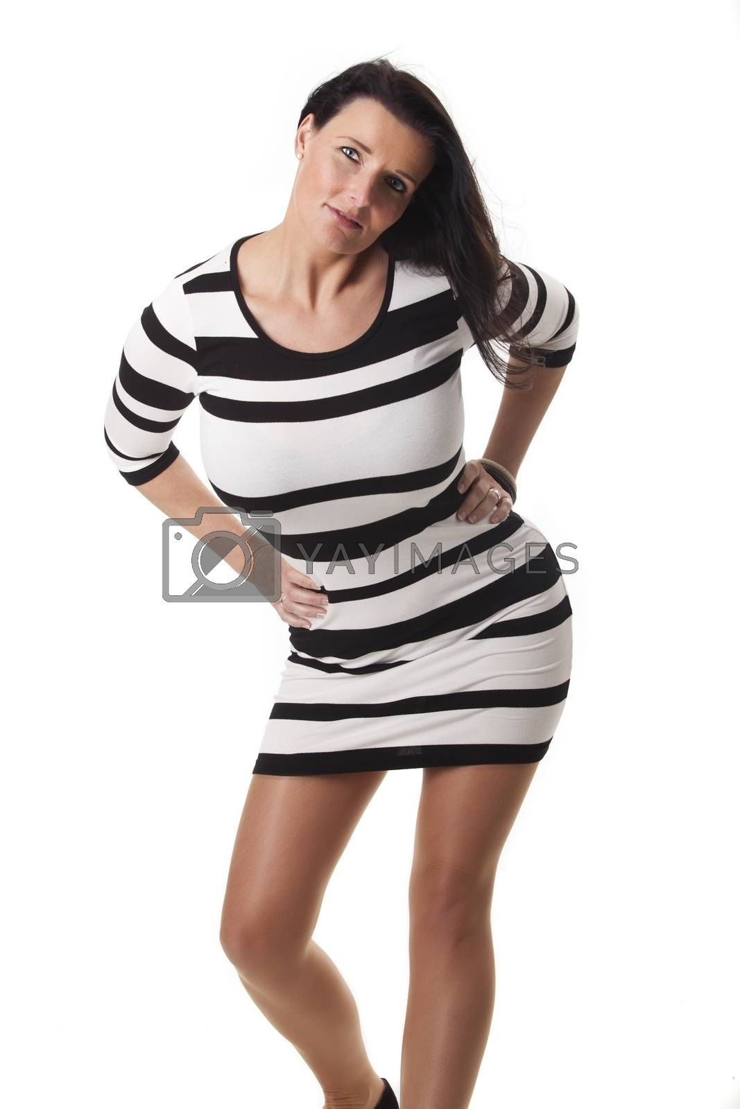 attractive woman in a striped dress