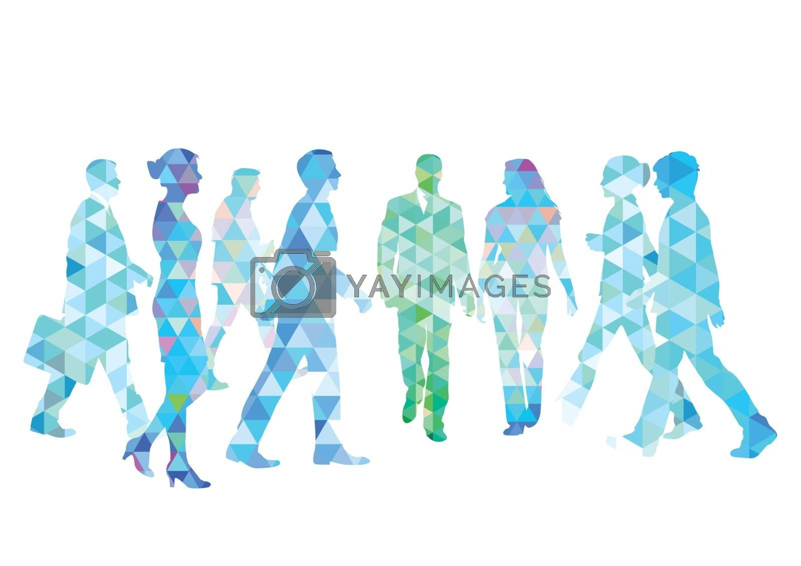 Group of people go for a walk, illustration