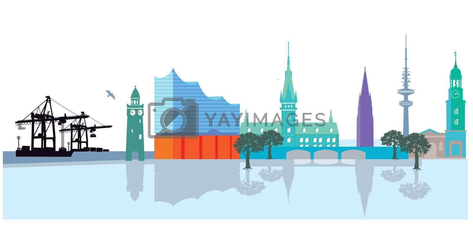 Hamburg Stadtansicht mit Hafen