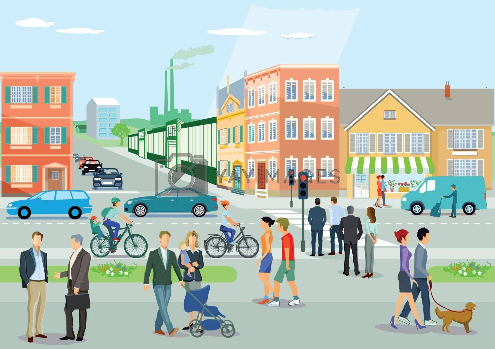 City with road traffic, cyclists and pedestrians, illustration