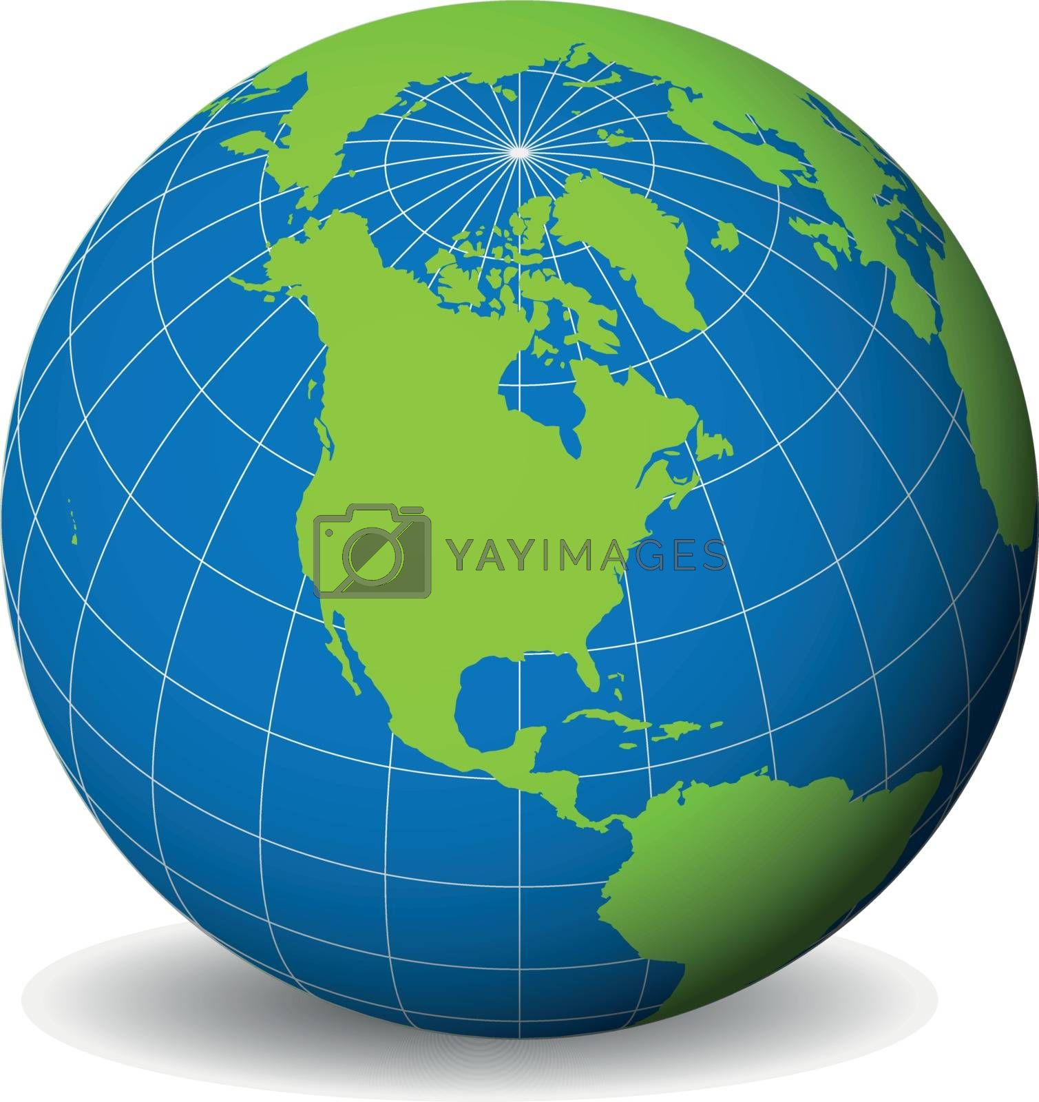 Earth Globe With Green World Map And Blue Seas And Oceans Focused On North America With Thin White Meridians And Parallels 3d Vector Illustration Royalty Free Stock Image Stock Photos Royalty