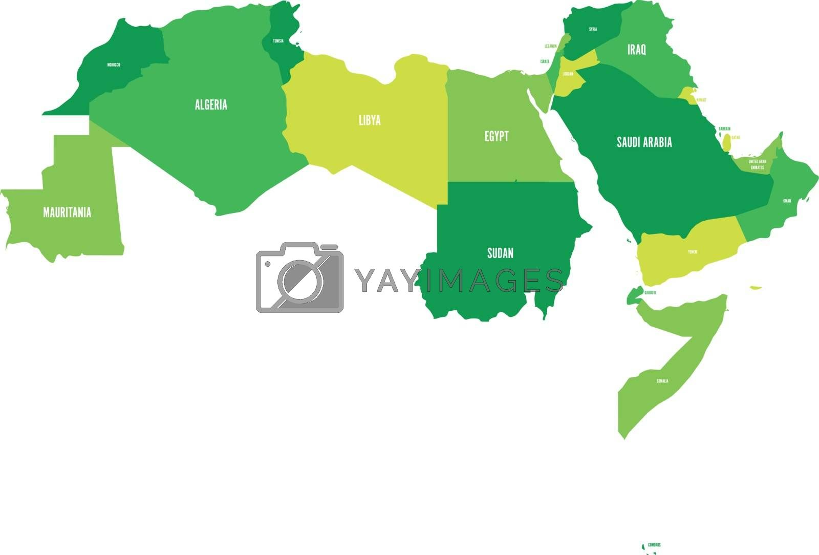 Picture of: Arab World States Political Map Of 22 Arabic Speaking Countries Of The Arab League Northern Africa And Middle East Region Vector Illustration Royalty Free Stock Image Stock Photos Royalty Free Images Vectors