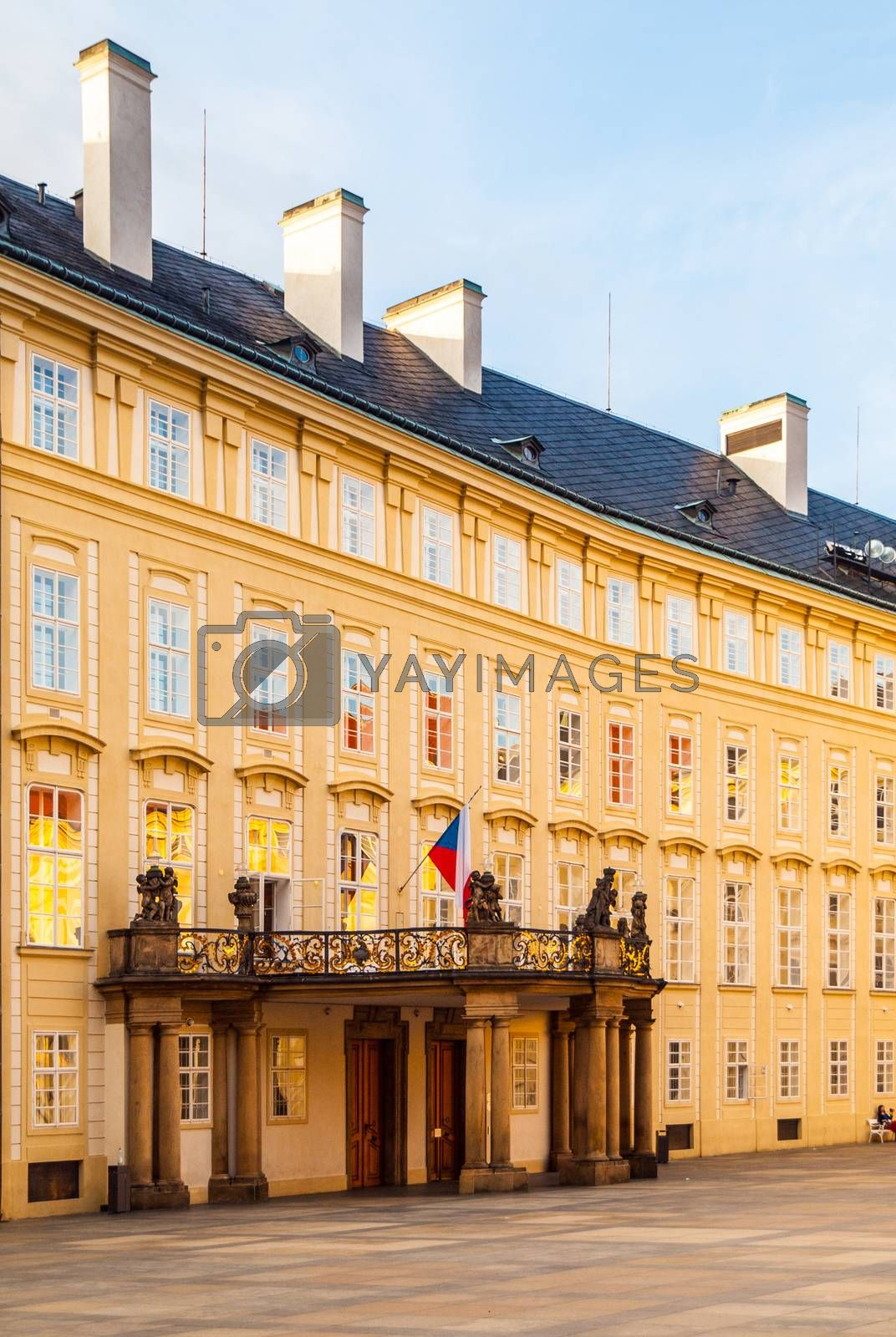 Entrance door with balcony to the Archives of Prague Castle on Third Courtyard, Prague, Czech Republic by pytyczech