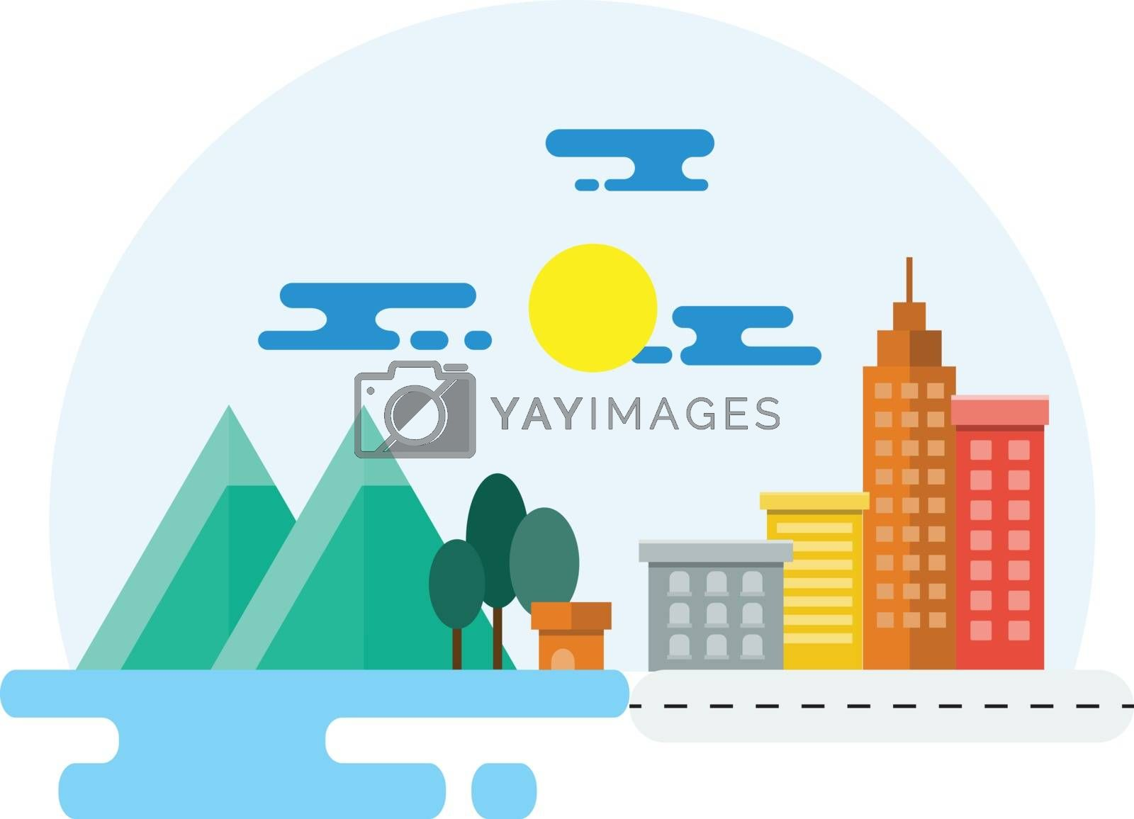 Countryside and City Landscape Illustration. Flat Design.