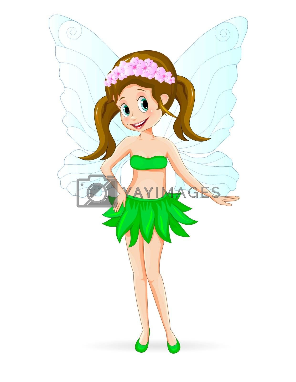 Cartoon fairy on a white background. The fairy is dressed in a skirt of green leaves and with flowers in her hair.