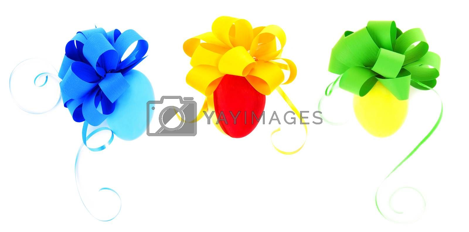 Three beautiful eggs coloring in different colors with ribbon bows isolated on white background, festive Easter collection