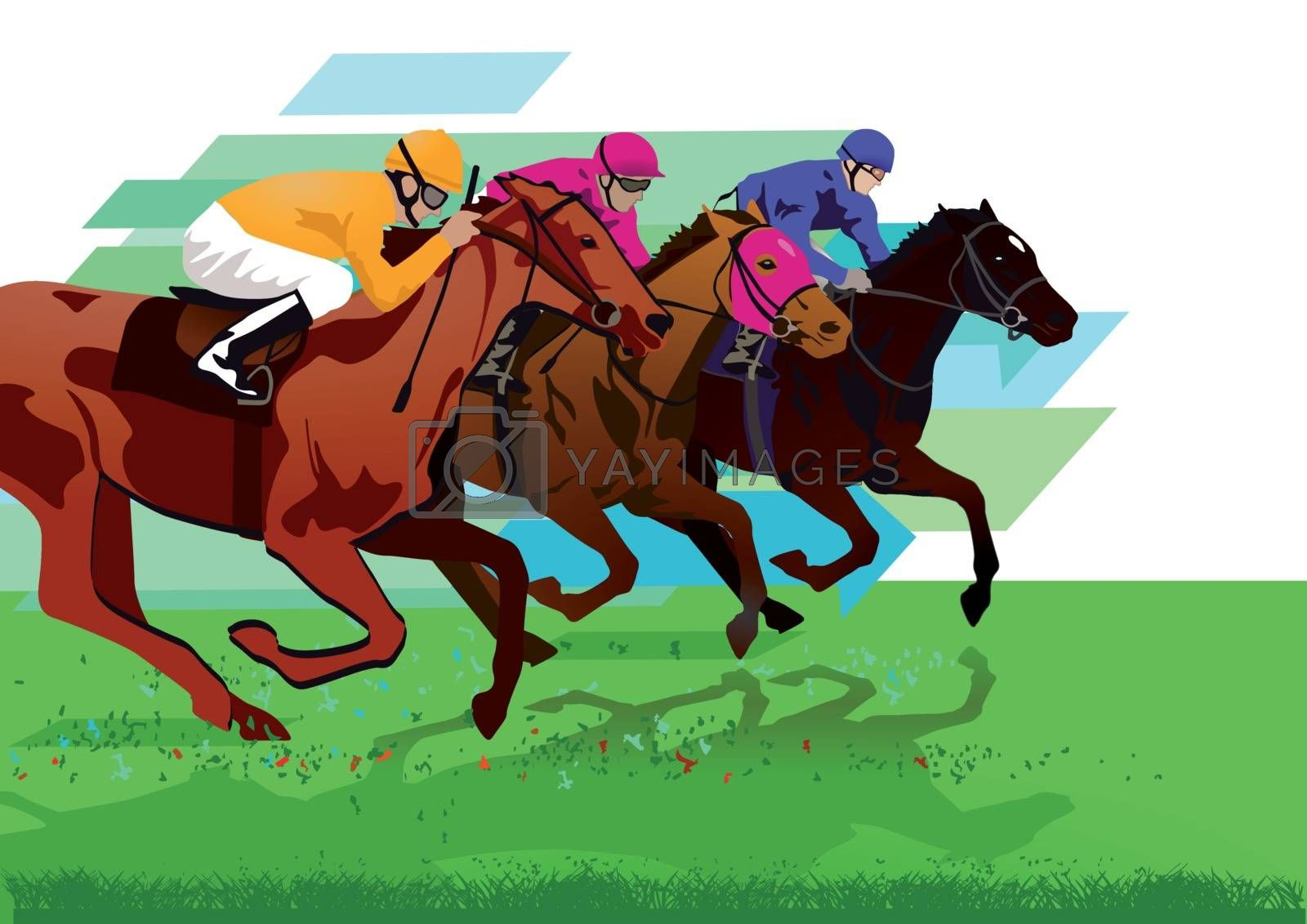 Jockeys with racehorses on the racetrack
