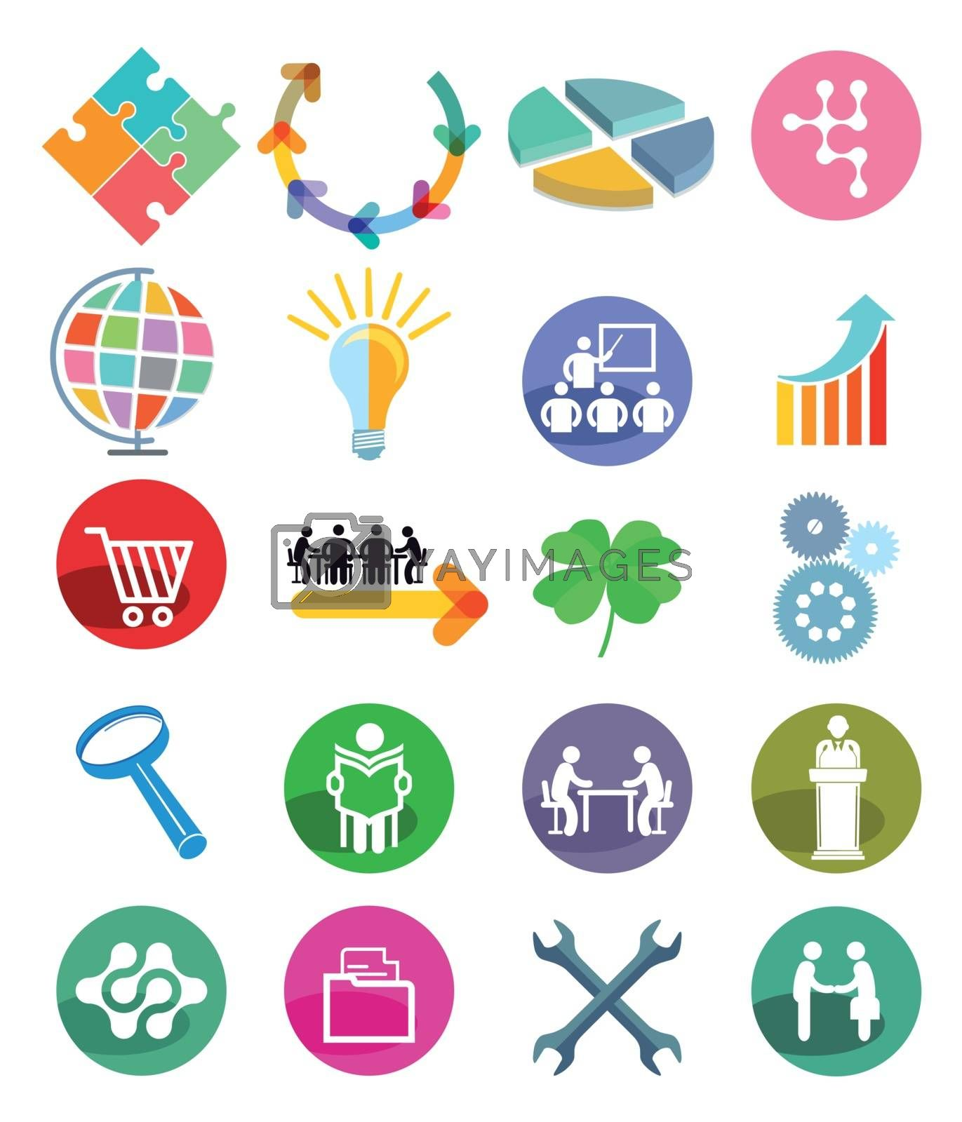 Business Icon Button, Vector Illustration