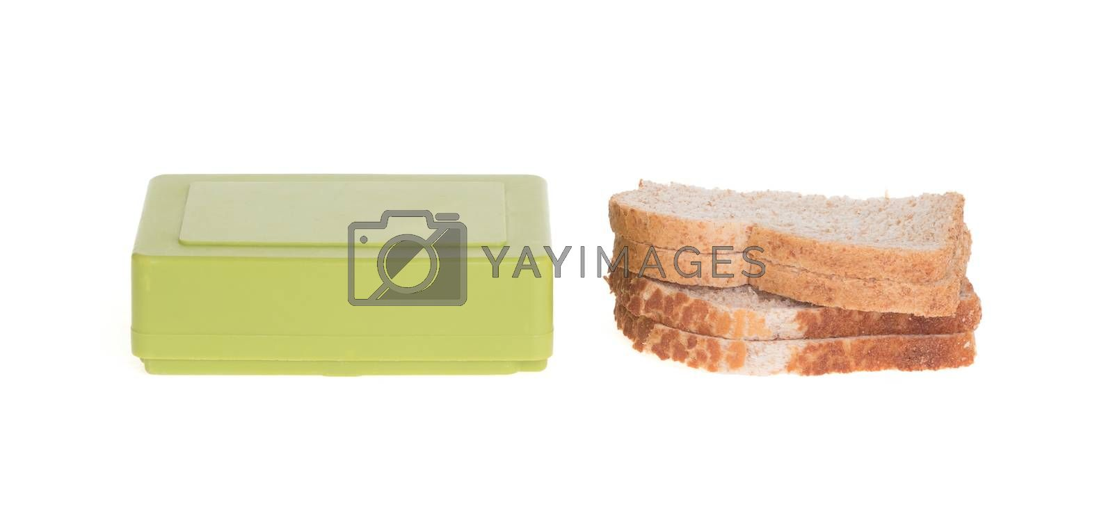 Simple old lunch box isolated on a white background