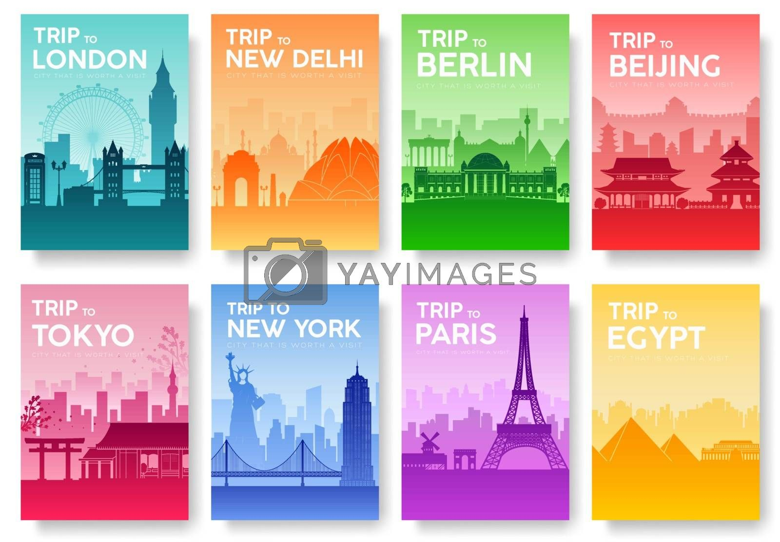 Travel of the world brochure with typography set. England country icon. England country. India country. Germany country. China country. Japan country. Usa country. France country. City landscape concept